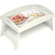 Столик для завтрака в постель «Аромат любви» с высоким бортиком цвет белый