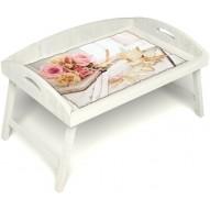 Столик для завтрака в постель «Аромат любви» с 3-мя высокими бортиками цвет белый