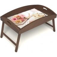 Столик для завтрака в постель «Аромат любви» с высоким бортиком цвет орех