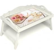 Столик для завтрака в постель «Аромат любви» с 3-мя фигурными бортиками цвет белый