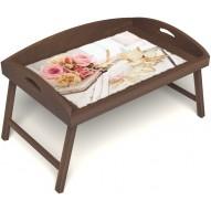 Столик для завтрака в постель «Русская берёза», «Аромат любви» с 3-мя высокими бортиками цвет орех