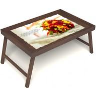 Столик для завтрака в постель «Букет роз» без ручек цвет орех