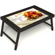 Столик для завтрака в постель «Букет роз» без ручек цвет венге