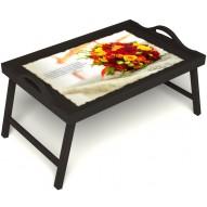 Столик для завтрака в постель «Букет роз» с ручками цвет венге