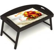 Столик для завтрака в постель «Букет роз» с 3-мя высокими бортиками цвет венге