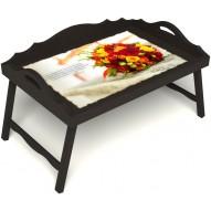 Столик для завтрака в постель «Букет роз» с 3-мя фигурными бортиками цвет венге