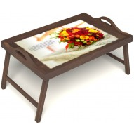 Столик для завтрака в постель «Русская берёза», «Букет роз» с ручками цвет орех