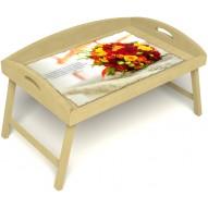 Столик для завтрака в постель «Букет роз» с 3-мя высокими бортиками цвет светлый