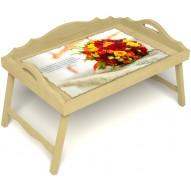 Столик для завтрака в постель «Букет роз» с 3-мя фигурными бортиками цвет светлый
