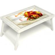 Столик для завтрака в постель «Букет роз» без ручек цвет белый