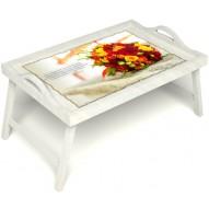 Столик для завтрака в постель «Букет роз» с ручками цвет белый