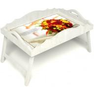 Столик для завтрака в постель «Букет роз» с фигурным бортиком цвет белый