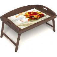 Столик для завтрака в постель «Русская берёза», «Букет роз» с 3-мя высокими бортиками цвет орех
