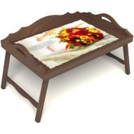 Столик для завтрака в постель «Букет роз» с 3-мя фигурными бортиками цвет орех