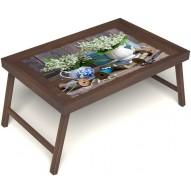 Столик для завтрака в постель «Ландыши» без ручек цвет орех