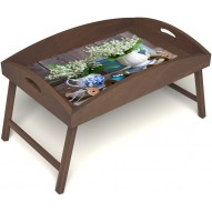 Столик для завтрака в постель «Ландыши» с высоким бортиком цвет орех