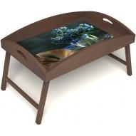 Столик для завтрака в постель «Любимый роман» с высоким бортиком цвет орех