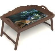Столик для завтрака в постель «Любимый роман» с 3-мя фигурными бортиками цвет орех