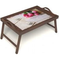 Столик для завтрака в постель «Русская берёза», «Любовное послание» с ручками цвет орех