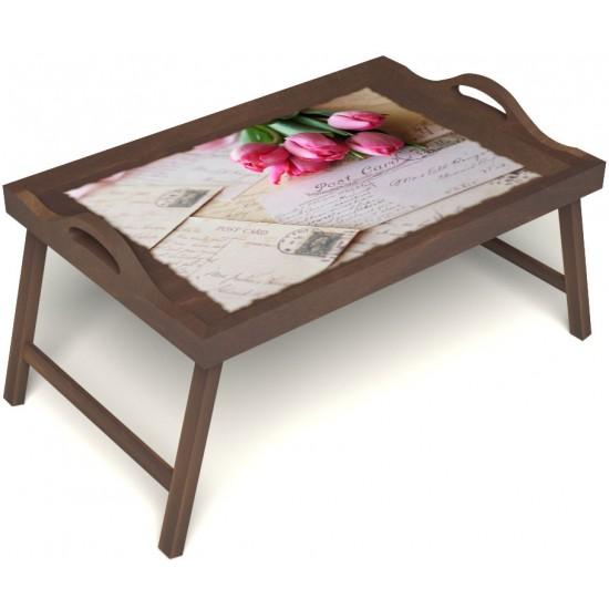 Столик для завтрака в постель «Любовное послание» с ручками цвет орех