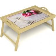 Столик для завтрака в постель «Любовное послание» с ручками цвет светлый