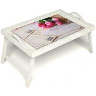 Столик для завтрака в постель «Любовное послание» с ручками цвет белый