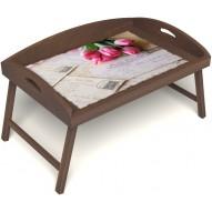 Столик для завтрака в постель «Русская берёза», «Любовное послание» с 3-мя высокими бортиками цвет орех