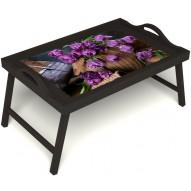 Столик для завтрака в постель «Махровые тюльпаны» с ручками цвет венге