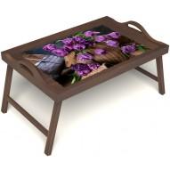 Столик для завтрака в постель «Махровые тюльпаны» с ручками цвет орех