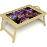 Столик для завтрака в постель «Махровые тюльпаны» с ручками цвет светлый