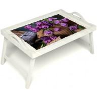 Столик для завтрака в постель «Махровые тюльпаны» с ручками цвет белый
