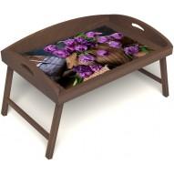 Столик для завтрака в постель «Русская берёза», «Махровые тюльпаны» с 3-мя высокими бортиками цвет орех
