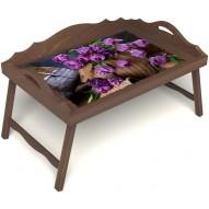 Столик для завтрака в постель «Махровые тюльпаны» с 3-мя фигурными бортиками цвет орех