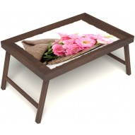 Столик для завтрака в постель «Русская берёза», «Нежные цветы» без ручек цвет орех