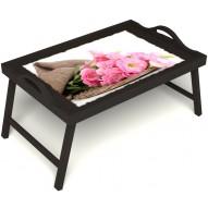 Столик для завтрака в постель «Нежные цветы» с ручками цвет венге