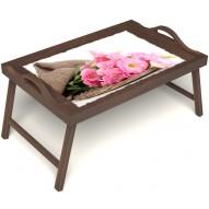 Столик для завтрака в постель «Русская берёза», «Нежные цветы» с ручками цвет орех