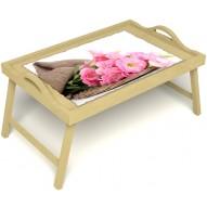 Столик для завтрака в постель «Нежные цветы» с ручками цвет светлый