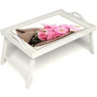 Столик для завтрака в постель «Нежные цветы» с ручками цвет белый