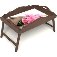 Столик для завтрака в постель «Русская берёза», «Нежные цветы» с фигурным бортиком цвет орех