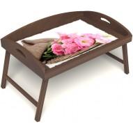 Столик для завтрака в постель «Русская берёза», «Нежные цветы» с 3-мя высокими бортиками цвет орех