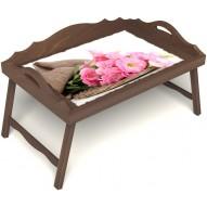 Столик для завтрака в постель «Нежные цветы» с 3-мя фигурными бортиками цвет орех