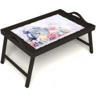 Столик для завтрака в постель «Прекрасное утро» с ручками цвет венге