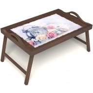Столик для завтрака в постель «Русская берёза», «Прекрасное утро» с ручками цвет орех
