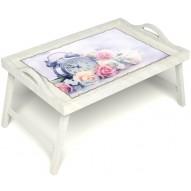 Столик для завтрака в постель «Прекрасное утро» с ручками цвет белый