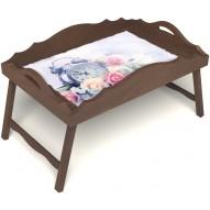 Столик для завтрака в постель «Русская берёза», «Прекрасное утро» с фигурным бортиком цвет орех