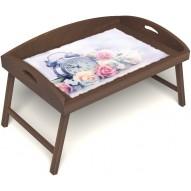 Столик для завтрака в постель «Русская берёза», «Прекрасное утро» с 3-мя высокими бортиками цвет орех