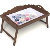 Столик для завтрака в постель «Прекрасное утро» с 3-мя фигурными бортиками цвет орех