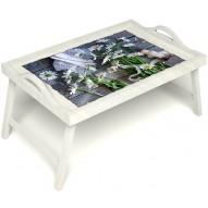 Столик для завтрака в постель «Ромашки» с ручками цвет белый