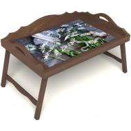 Столик для завтрака в постель «Ромашки» с 3-мя фигурными бортиками цвет орех