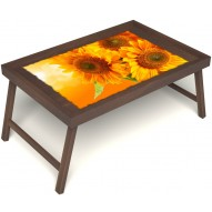 Столик для завтрака в постель «Русская берёза», «Солнечный букет» без ручек цвет орех